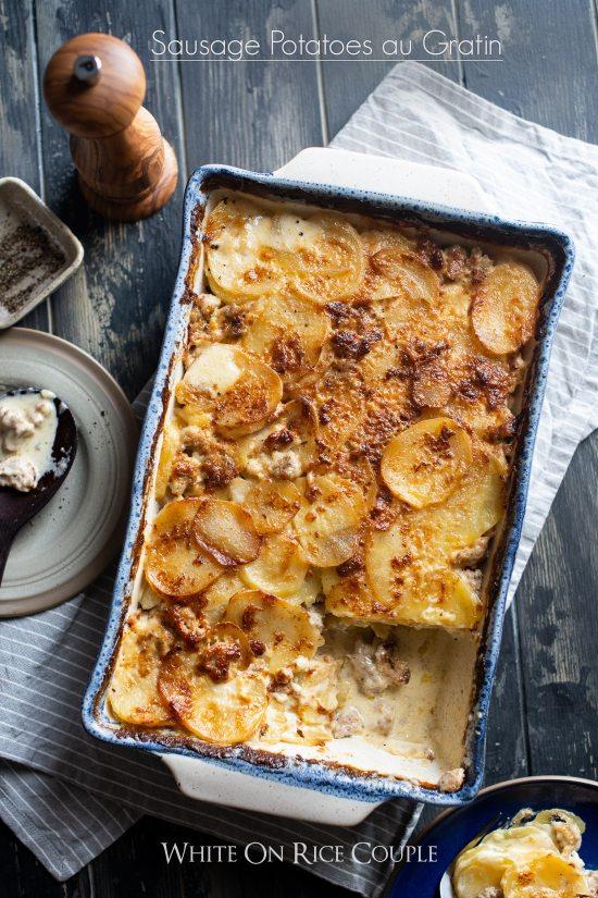 Sausage potatoes au gratin recipe or sausage scalloped potatoes @whiteonrice