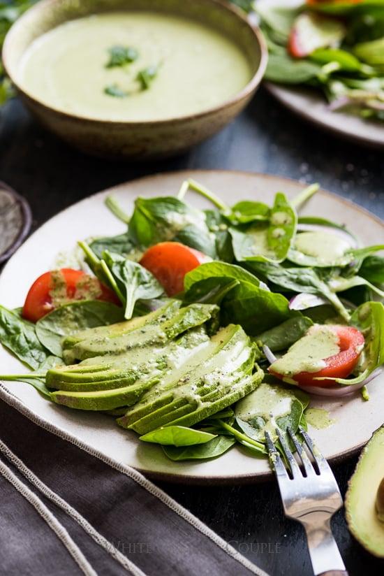 Spinach Avocado Salad with Creamy Cilantro Dressing Recipe   @whiteonrice