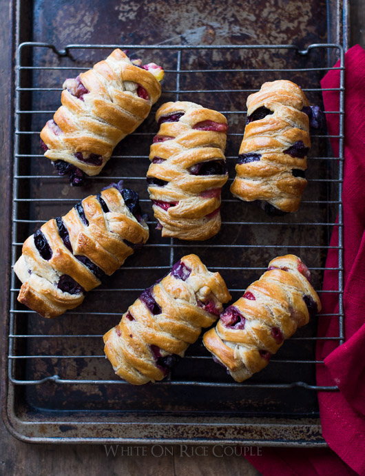 Homemade Strawberry/Blueberry Crossover Pastries by @whiteonrice