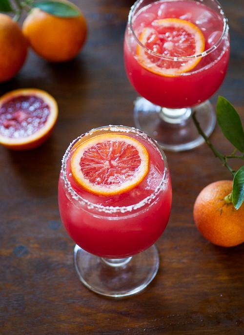 Refreshing and colorful Blood Orange Margarita Recipe on WhiteOnRiceCouple.com