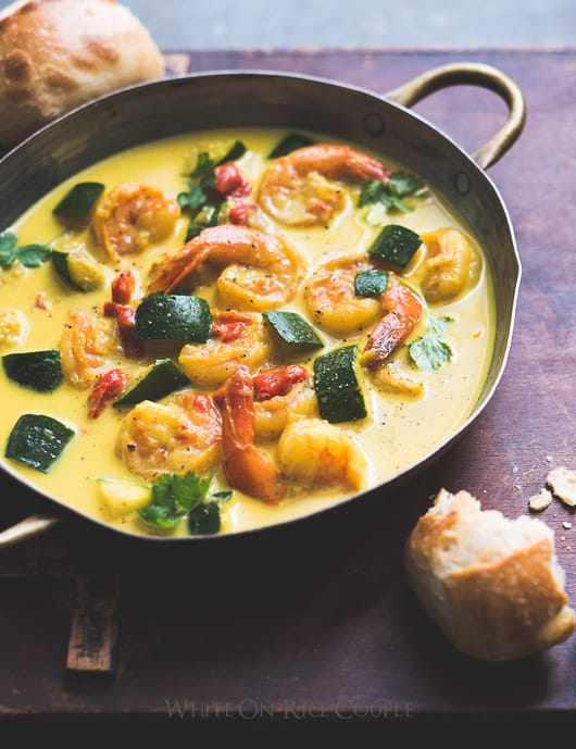 Wonderful 30 minute coconut curry recipe with shrimp, vegetables or what ever you want to add. | @whiteonrice
