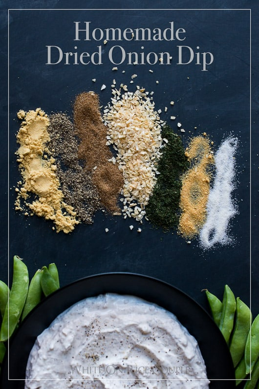 Homemade dried onion dip mix recipe with Sour Cream or Creme Fraiche for the Best Onion Dip Recipe | @whiteonrice