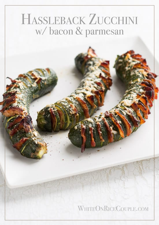 Hasselback Zucchini Recipe with Bacon & Parmesan is the perfect vegetable side dish recipe | @whiteonrice