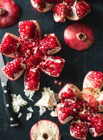 Cool way to shuck pomegranates without making it look like a murder scene | @whiteonrice