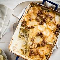 Sausage Potatoes au Gratin Recipe on WhiteOnRiceCouple.com