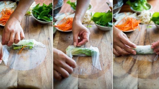 Roasted Asparagus Bacon Spring Rolls or fresh summer wraps recipe | @whiteonrice