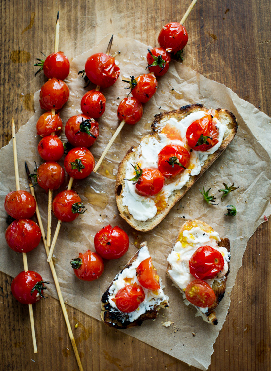 """Grilled cherry tomato skewers """"Lollipops"""" Toasts for Summer Tomato Recipe on WhiteOnRiceCouple.com @whiteonrice"""