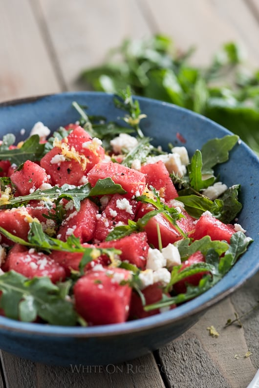 Watermelon Salad Recipe with Arugula, Feta, Mint or Fresh Herbs | @whiteonrice