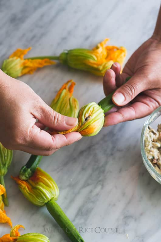 Vietnamese Pork Stuffed Zucchini Flowers: Savory & delicious recipe for zucchini lovers | @whiteonrice