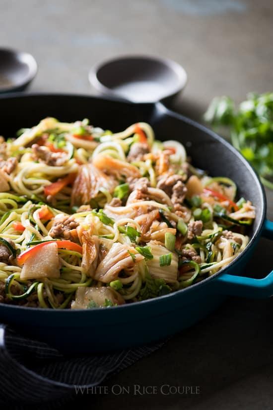 Korean Zucchini Noodles Stir Fry with Pork And Korean Kim Chi   @whiteonrice