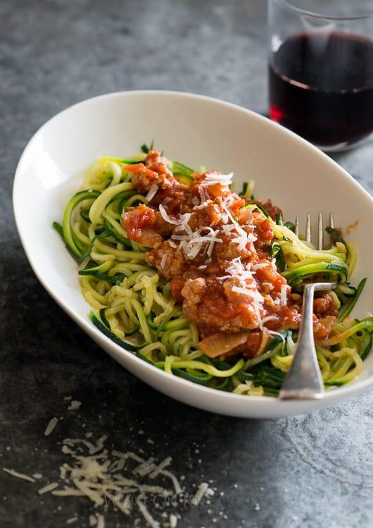 Healthy Zucchini Noodles with Turkey Marinara Sauce   @whiteonrice