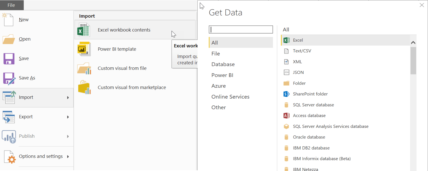 Power BI Desktop Excel Connections