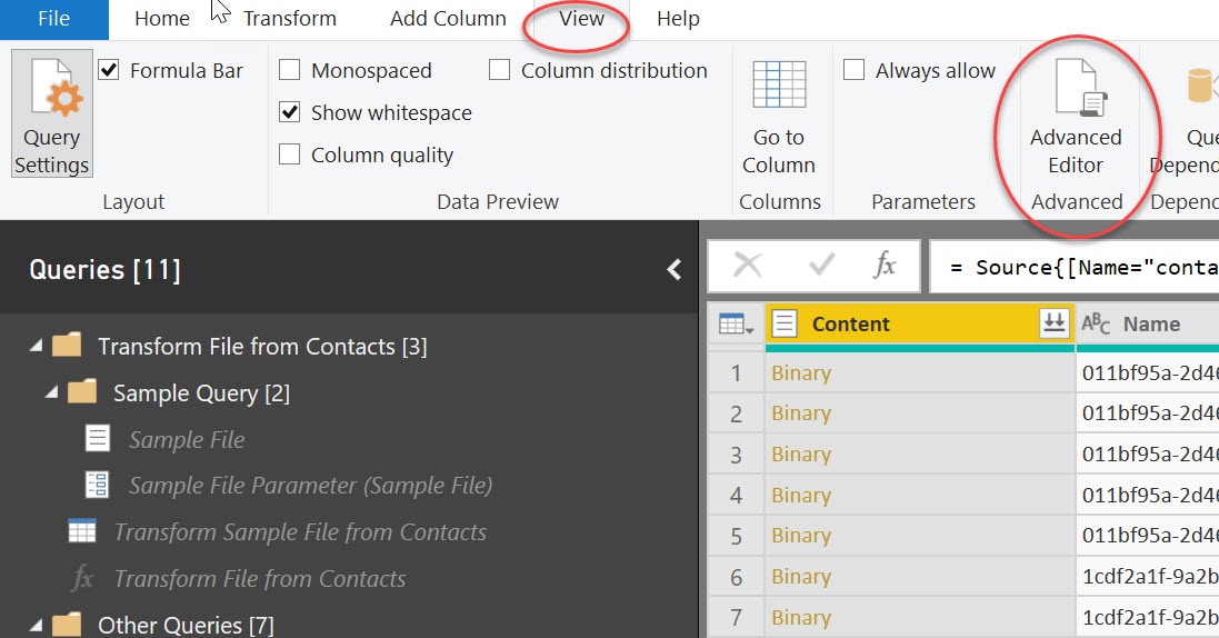 Advanced Editor in Power BI Desktop - View Tab