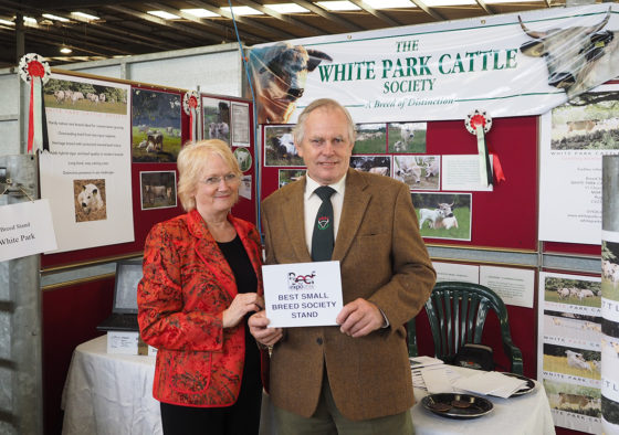 Jean Wright and John Carrick with the Award for best small breed Society stand.
