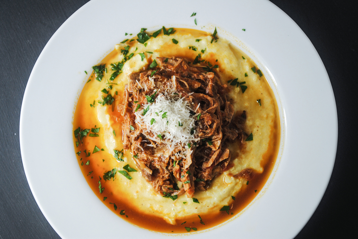 Pork ragu with creamy polenta