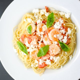 Angel hair pasta with shrimp and feta