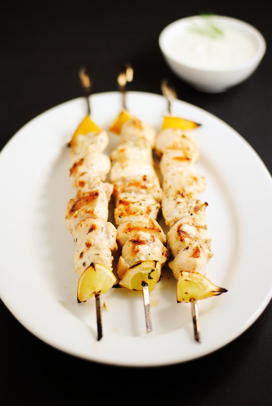 Chicken souvlaki with homemade tzatziki