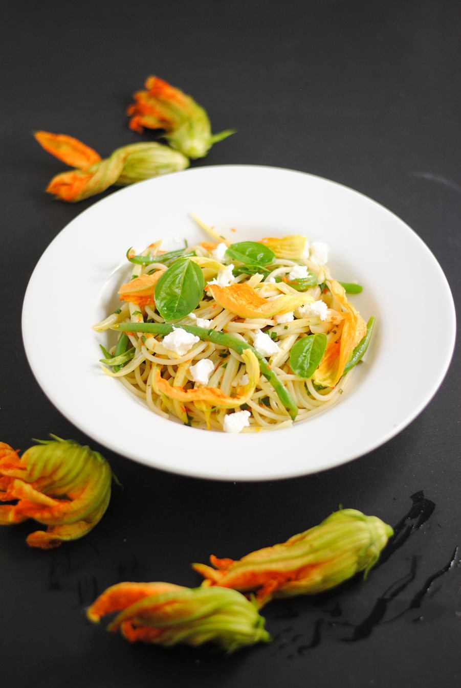 summer pasta with squash blossoms