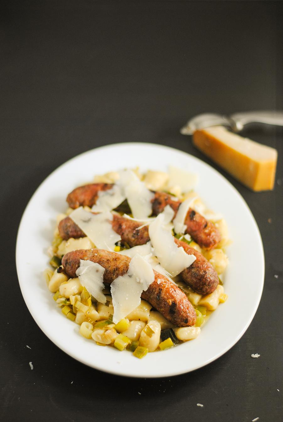 gnocchi with sausage and leeks