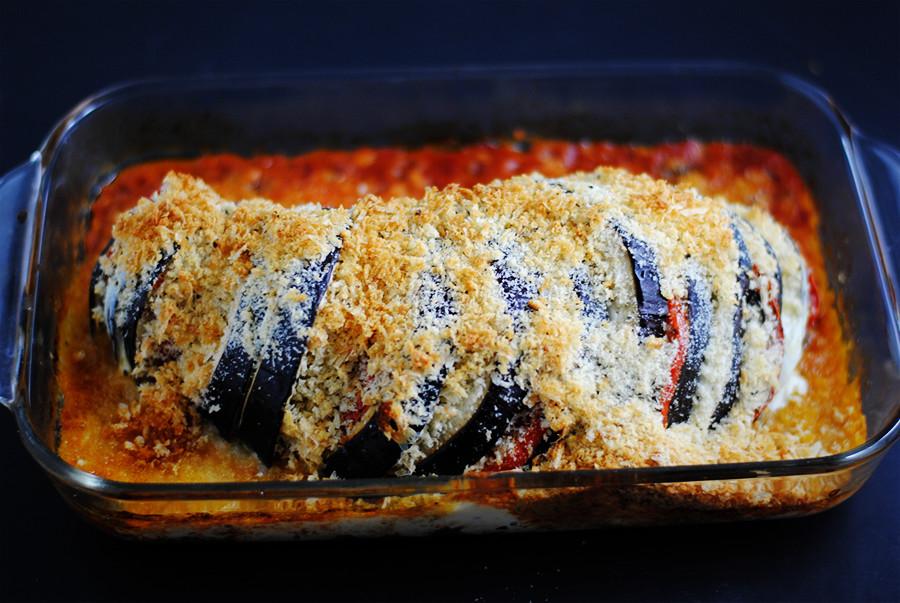 hasselback eggplant Parmesan