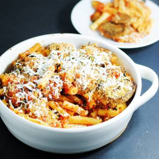 Pasta alla Norma (baked pasta with eggplant)