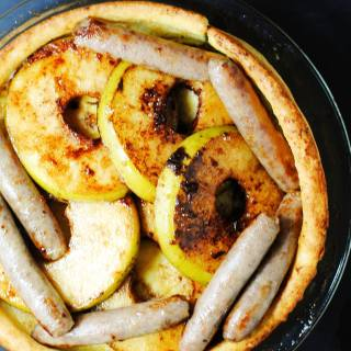 Breakfast popover with apples and sausage
