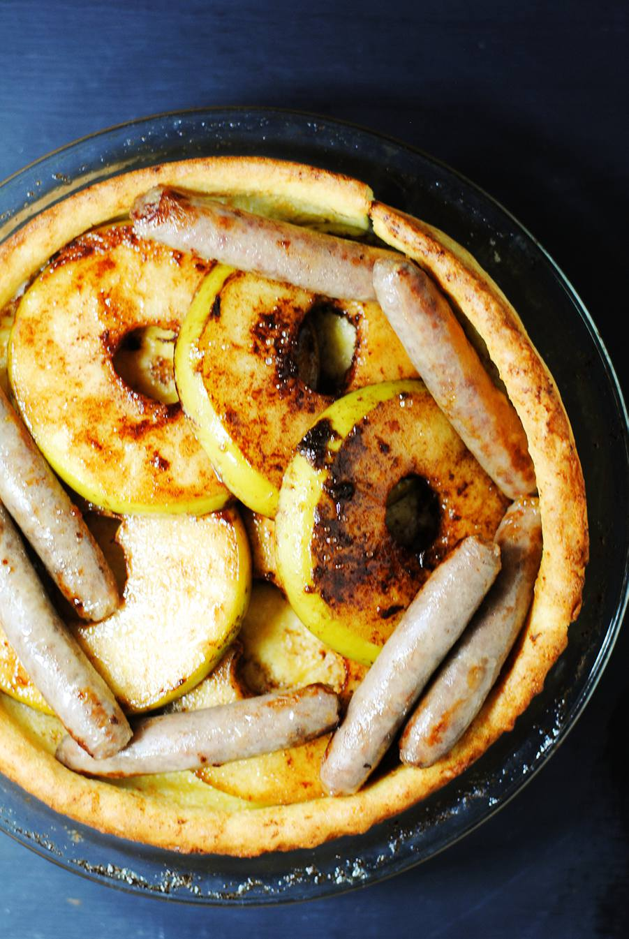 popover with apples and sausage