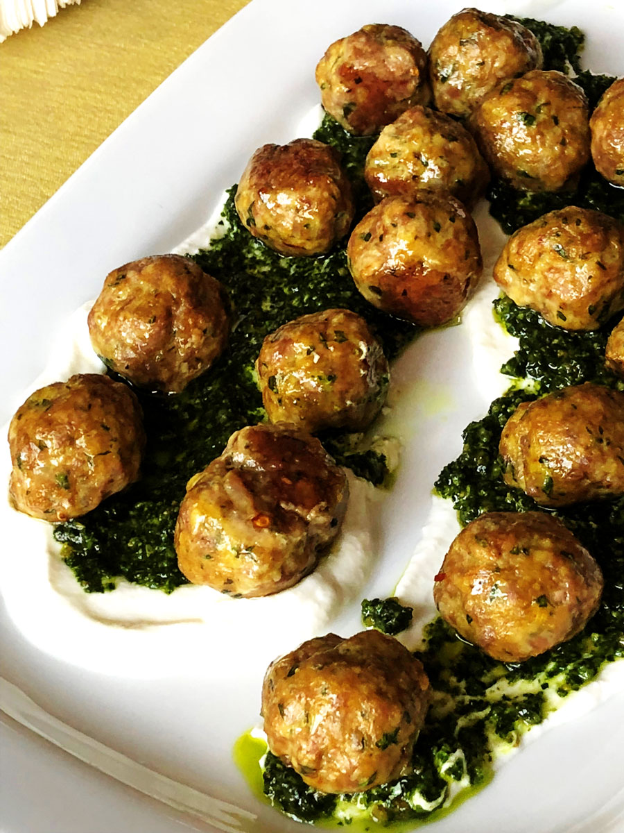 Lamb Meatballs With Mint Pesto And Yogurt White Plate Blank Slate Homemade Bon