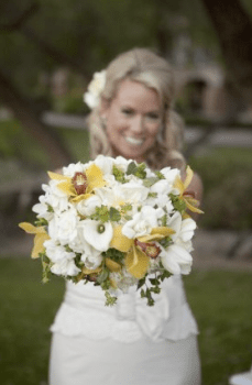 Wedding flowers with orchids, tulips, calla lilies, and stalk