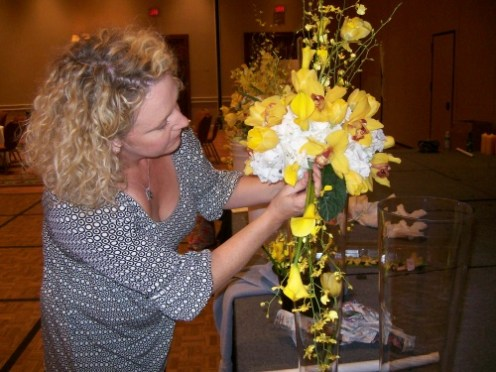 AJ Wedding-Jeanne working on wedding flower centerpiece