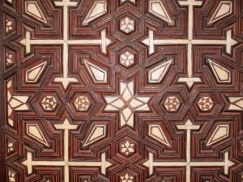 Geometric design of ebony and ivory on a door. Coptic Cairo