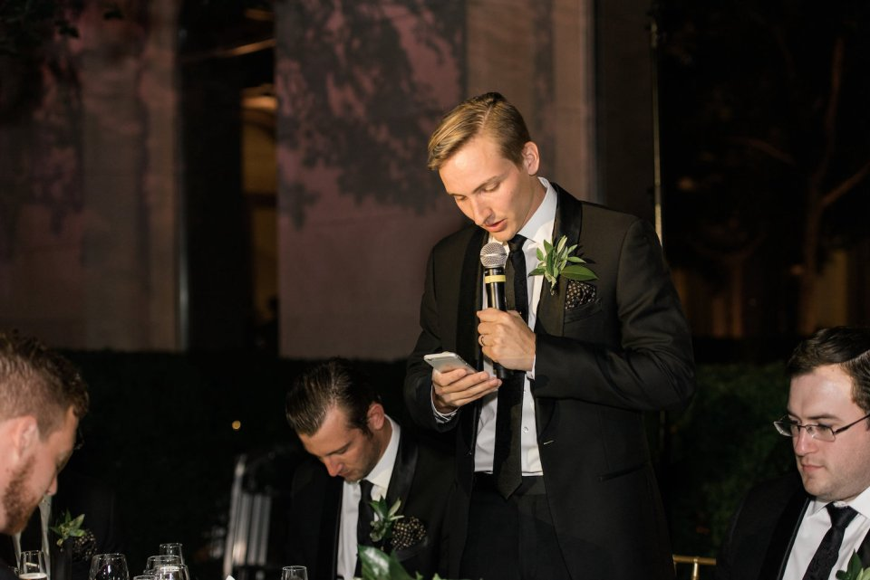 Brother of the bride giving a toast