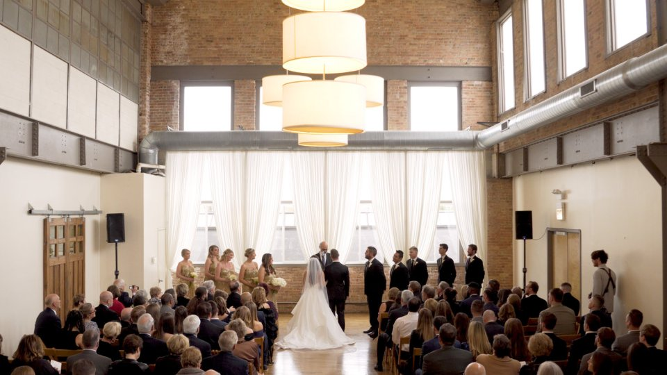 Wedding ceremony at City View Loft in Chicago's West Town neighborhood.