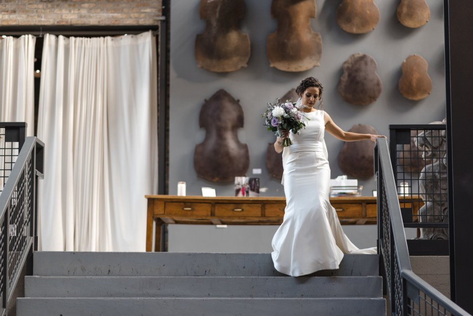 Bride walks down the aisle at Artifact Events in Chicago IL