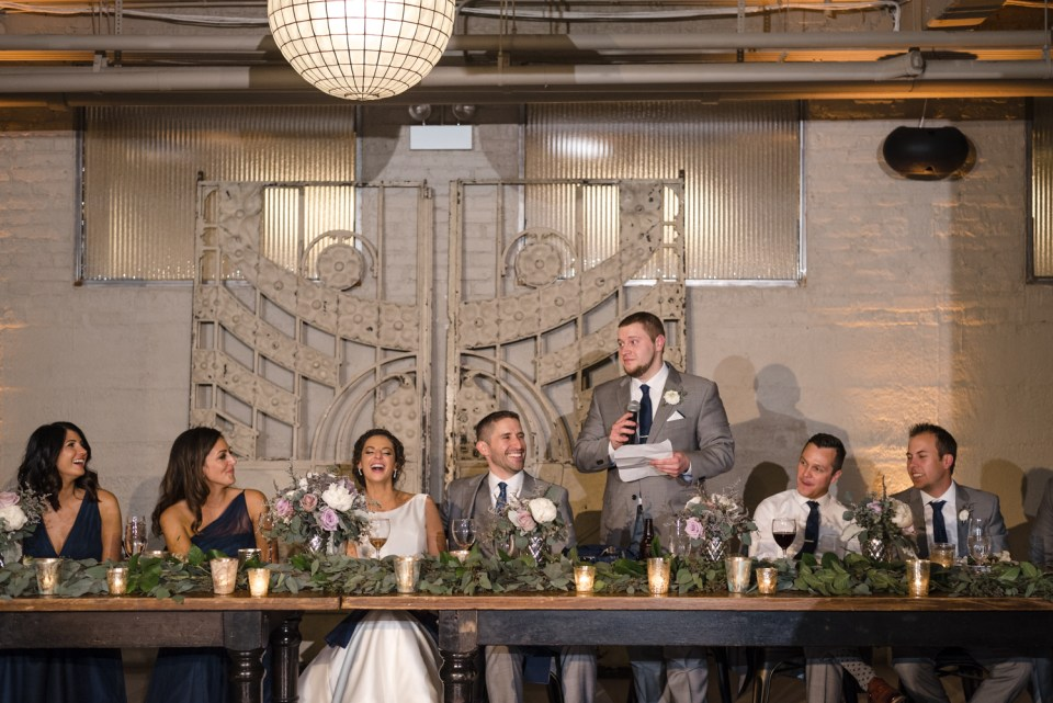 Best man gives a toast at Artifact Events in Chicago IL