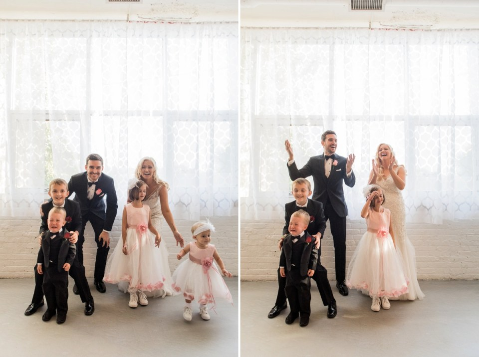 Bride and groom trying to take a picture with their ring bearers and flower girls at Room 1520