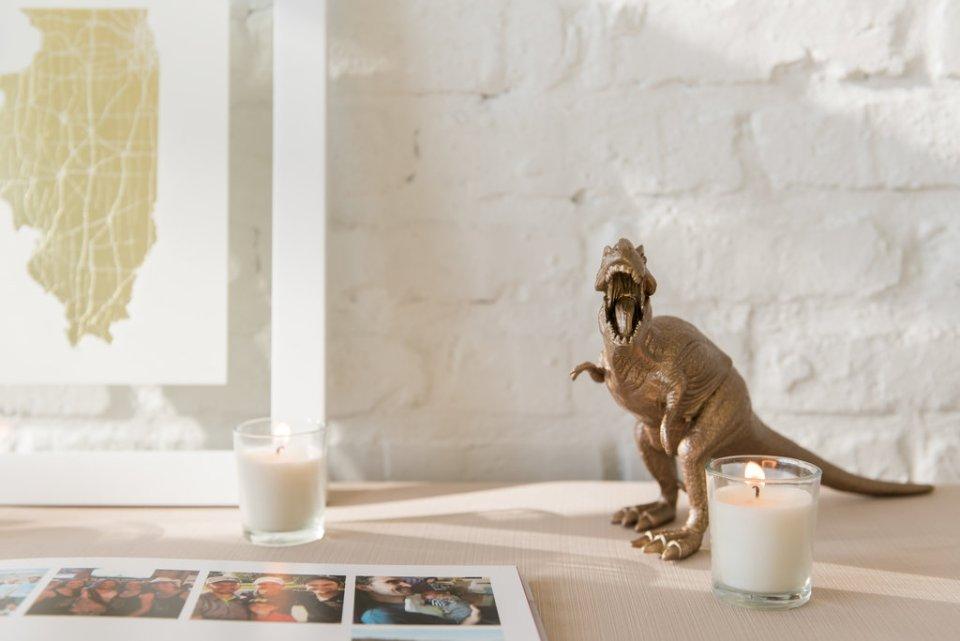 Gold dinosaur wedding details at Room 1520 in Chicago