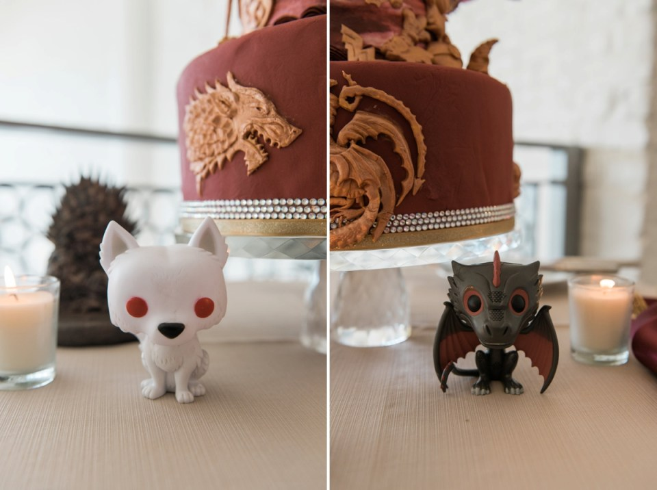 Details of the Game of Thrones figurines on the couple's DIY wedding cake