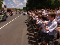 Schools lined the road to support the White Ribbon Riders