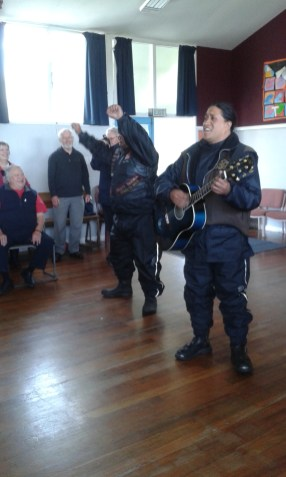 Eru and Tiki singing the White Ribbon Riders song Hokitika Primary