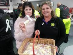 Gore puts on a nice warm welcome for the riders with white ribbon cookies. #whiteribbonride