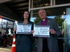 Rachel Reece Mayor of Nelson and Bishop of Nelson Richard Ellena pledge to stand up against violence