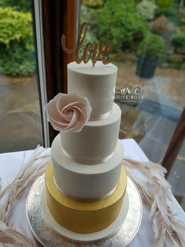 Four Tier Ivory Blush and Gold Wedding Cake by White Rose Cake Designcom Cake Maker in