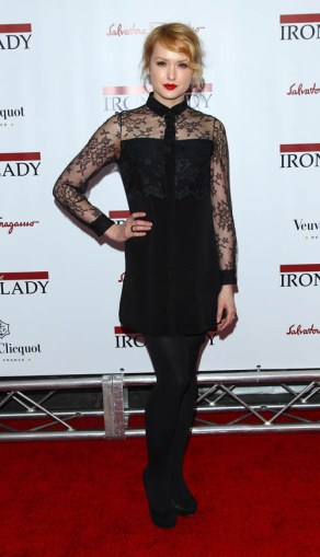 "Actress Kaylee Defer attends the premiere of ""The Iron Lady"" at the Ziegfeld Theater on Tuesday, Dec. 13, 2011, in New York."