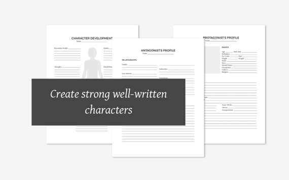 Character worksheets on Etsy