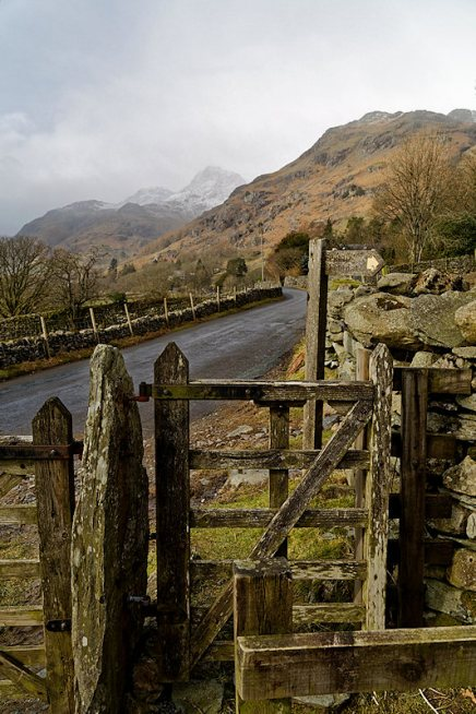 Footpath near Pye Howe with Langdales in the background