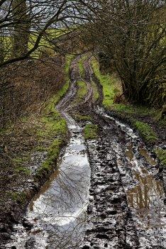 Muddy section on Gamblesmire Lane