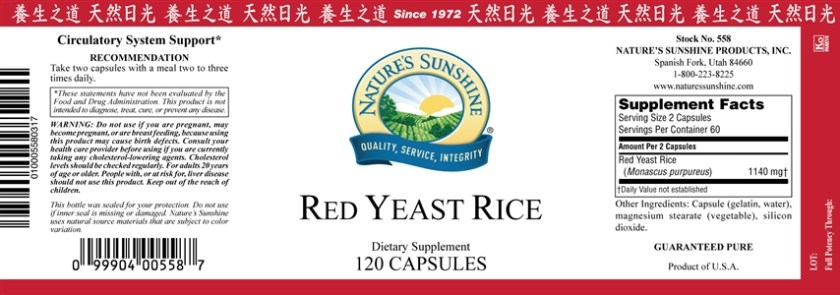 red yeast rice label