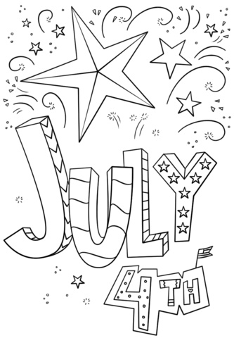 4th of july doodle coloring page free printable coloring pages
