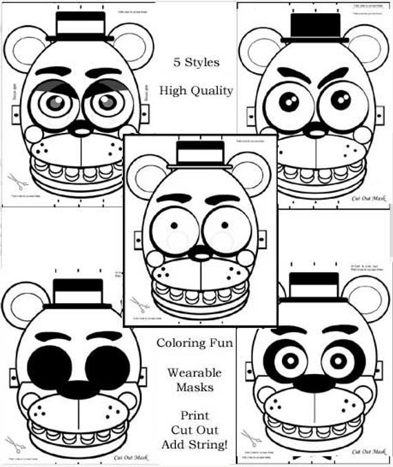 5 masks fnaf coloring pages party favors birthday parties halloween fun high quality 8x11
